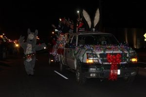 The Peaceful Valley Donkey Rescue pulled out all the stops to make sure they took home the trophy for best lights display by integrating a special donkey of their own! Photo by Stephanie Clark.