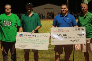VVHSBoostersDonations-09-30-16.01: Pictured from left to right, VVHS' Joey Bowler, Bill Mitchell, Doug Hall and VVHS Principal Cliff Hughes.