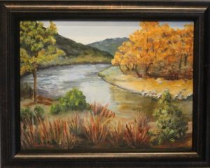 Sandra Fullerton used oil to paint her version of a fall in 'Santa Fe'. Photo by Teri Nehrenz