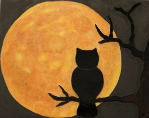 : 'Harvest Moon' by Sandy Cooper will definitely get you in the mood for Halloween when you see this stunning glass and acrylic piece. Photo by Teri Nehrenz