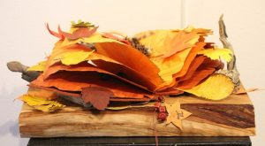 Judith Hetem once again shows incredible talent and diversity with her three-dimensional watercolor piece titled 'Leaves from a Book'. Photo by Teri Nehrenz