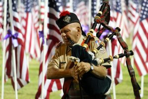Dennis Hangey, on Babpipes, performed 'II Silenzio' (The Silence) during the Exchange Club's 2016 1000 Flags over Mesquite Veteran's Day ceremony. Photo by Teri Nehrenz