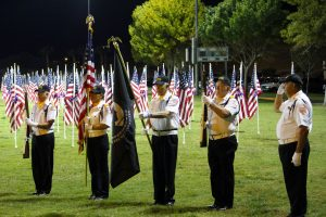 Mesquite Honor Guard presents the flag during the 2016 1000 Flags over Mesquite Veteran's Day ceremony. Photo by Teri Nehrenz