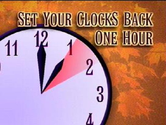 Daylight Savings Time ends Saturday night/Sunday morning