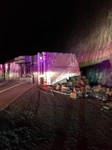 Much like the incident from Oct. 17 incident that involved a semi-tractor trailer full of pigs, another semi-tractor trailer carrying fruit and beans overturned near milepost 13 in the Virgin River Gorge on Nov. 17. Both incidents shut down traffic for several hours. Submitted photo.