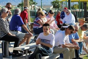 Residents gather for the 2016 1000 Flags over Mesquite closing ceremony. Photo by Teri Nehrenz