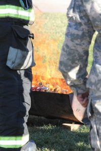 Burning of the American Flag during the Flag Retirement Ceremony held at the end of the 2016 1000 Flags over Mesquite. Photo by Teri Nehrenz