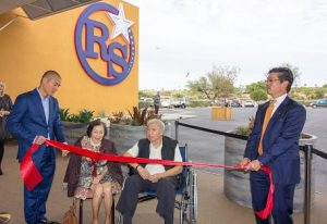 The Lee family cut the ribbon on the renovated and newly-opened Rising Star Sports Ranch on Wednesday, Nov. 16 after being presented the keys to the city of Mesquite at a luncheon honoring their work in the community. From left, Ernie, mother Doris, father Ted and Greg Lee. Photo by Kris Zurbas