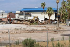 The old Oasis Casino Resort was demolished in 2013 after standing empty five years. The old concrete and blacktop parking areas will be resurfaced with added landscaping. No new structures are planned for the site. Photo by Barbara Ellestad.