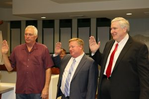 Newly-elected Mesquite city council members were sworn into office on Nov. 22. From left, George Rapson, Brian Wursten, and David Ballweg.
