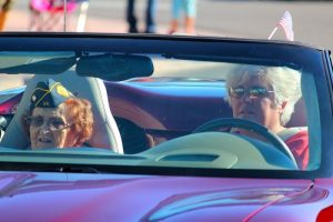 Mesquite's oldest WWII woman veteran, 98 year old Anna Murphy, is driven down Mesquite Blvd. by Deena Neal in the 2016 Mesquite Veteran's Day Parade.  Murphy will be 99 years old in Dec. Photo by Teri Nehrenz