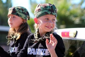 Sparkle Dance Team members were twirling batons and marching in the parade but these lucky two cuties rode and waved to the crowds who stood watching the 2016 Veteran's Day Parade. Photo by Teri Nehrenz