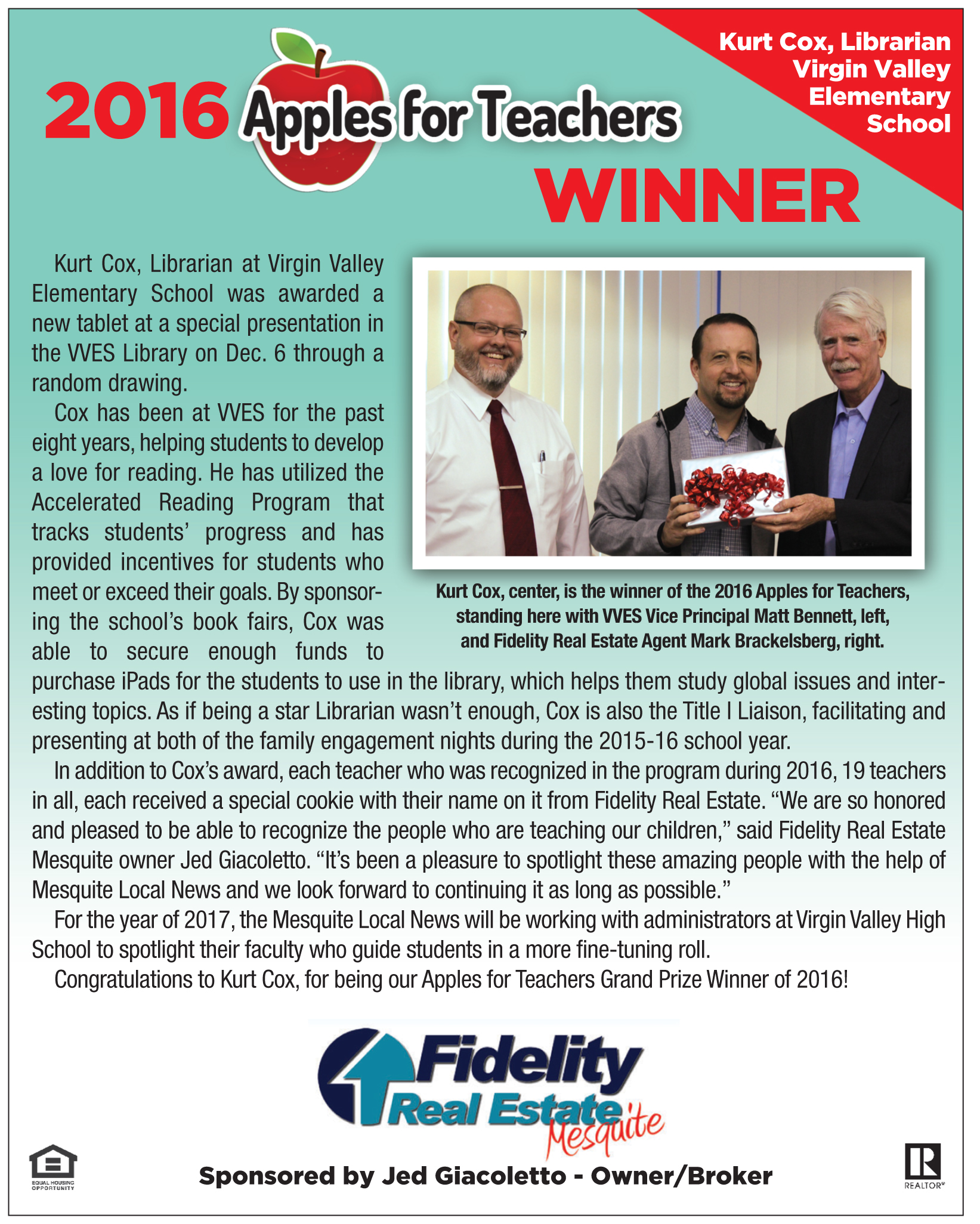 Fidelity Real Estate's Apples for Teachers Winner