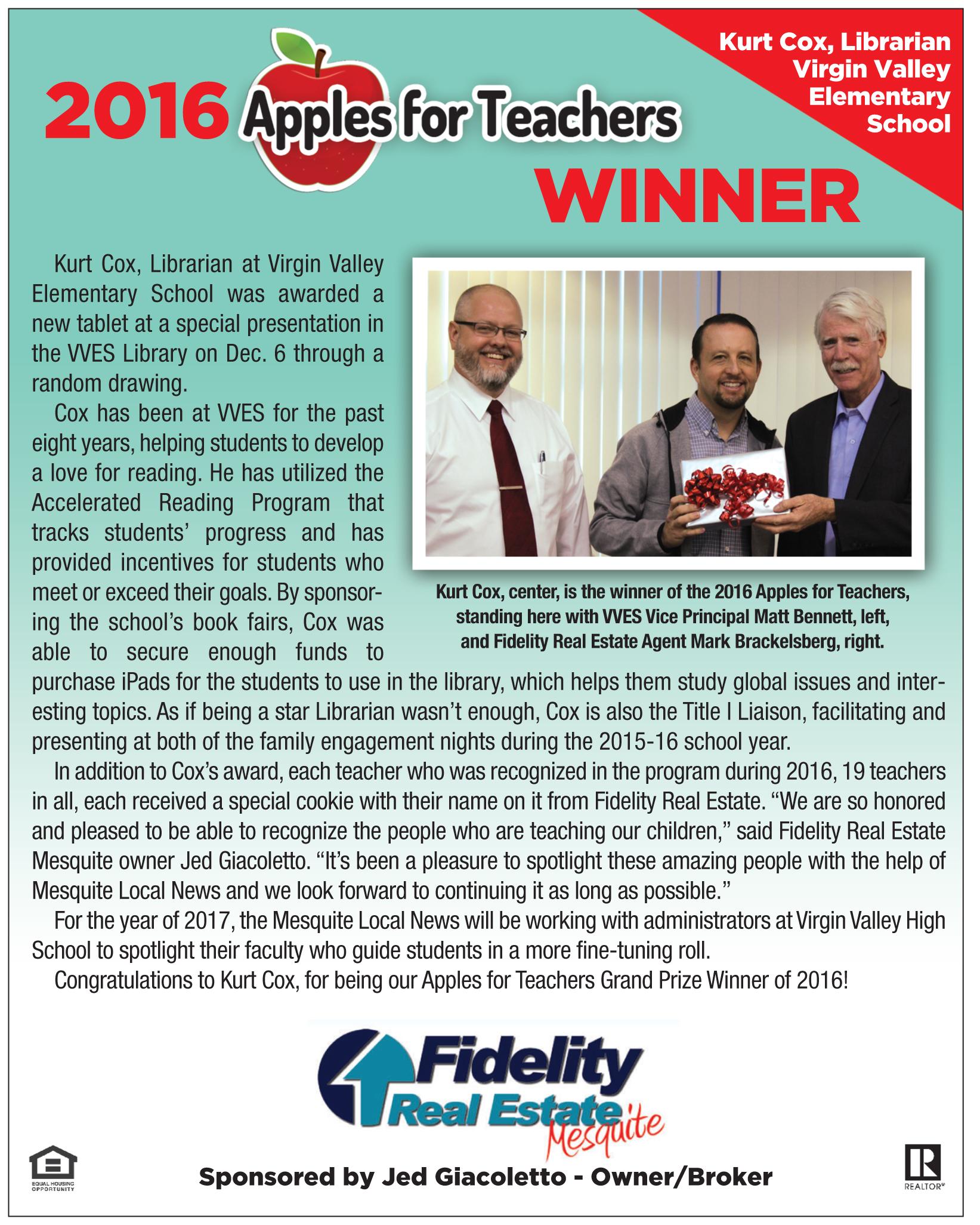 Fidelity Real Estate's Apples for Teachers Winner