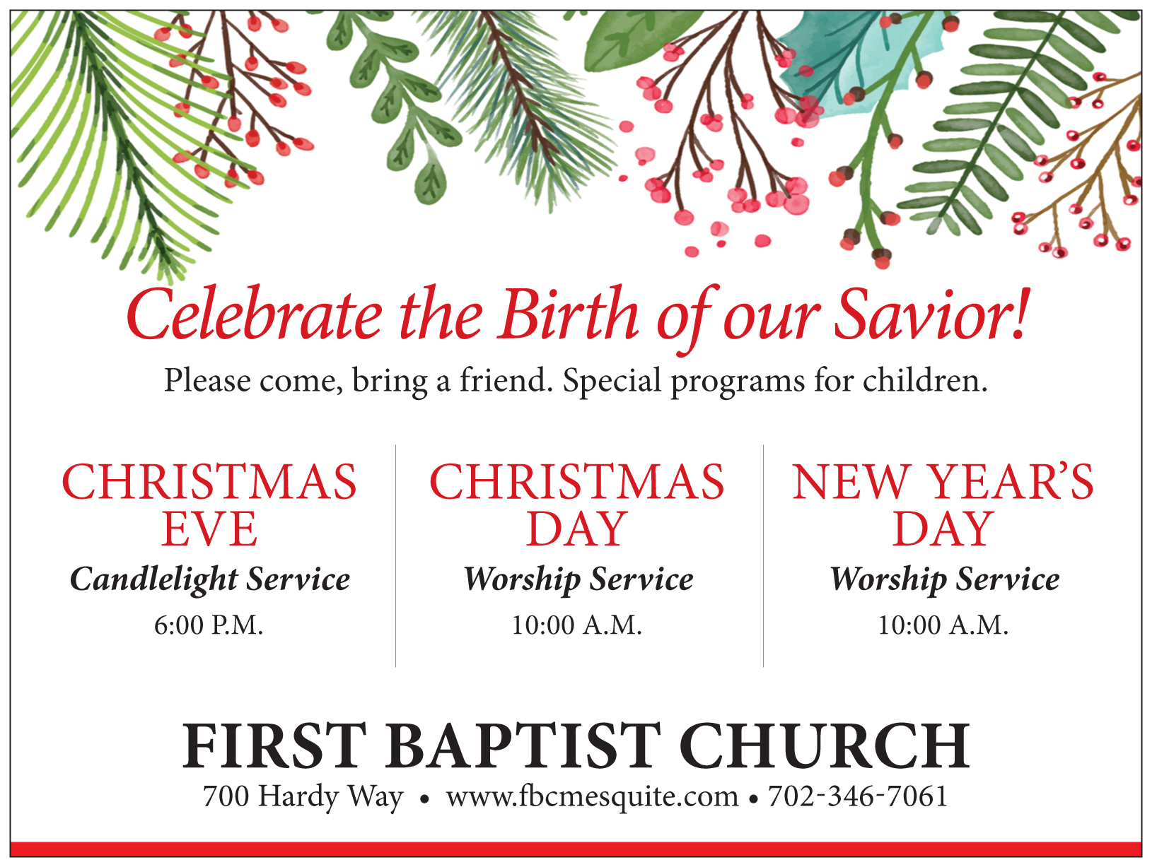 First Baptist Church Christmas Services