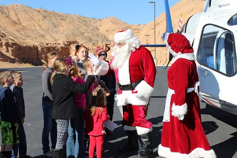 Santa spends a morning with emergency personnel and their families