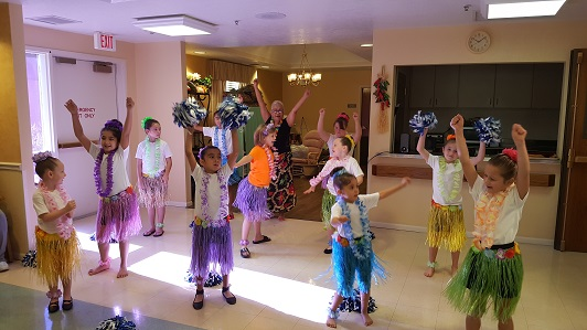 Hula Girls visit the Manor