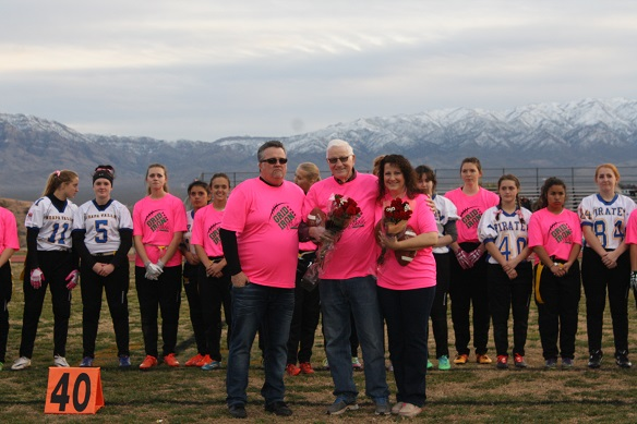 VVHS honors Bowler and Hafen, prior to Thursday night's flag football game.