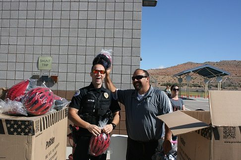 250 Students Receive Helmets and Safety Tips at Bicycle Rode