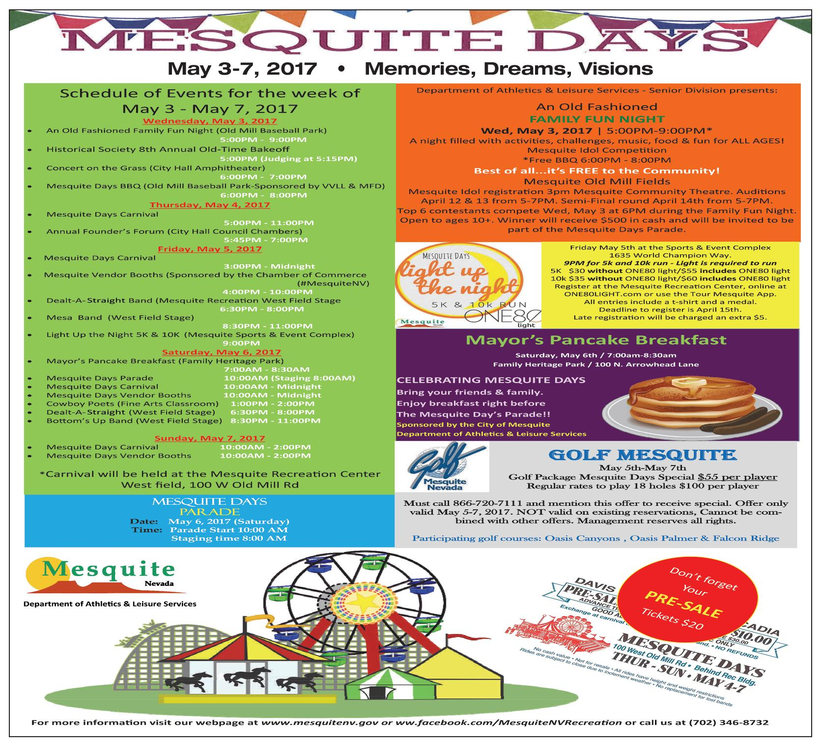 Mesquite Days 2017 – Full Schedule