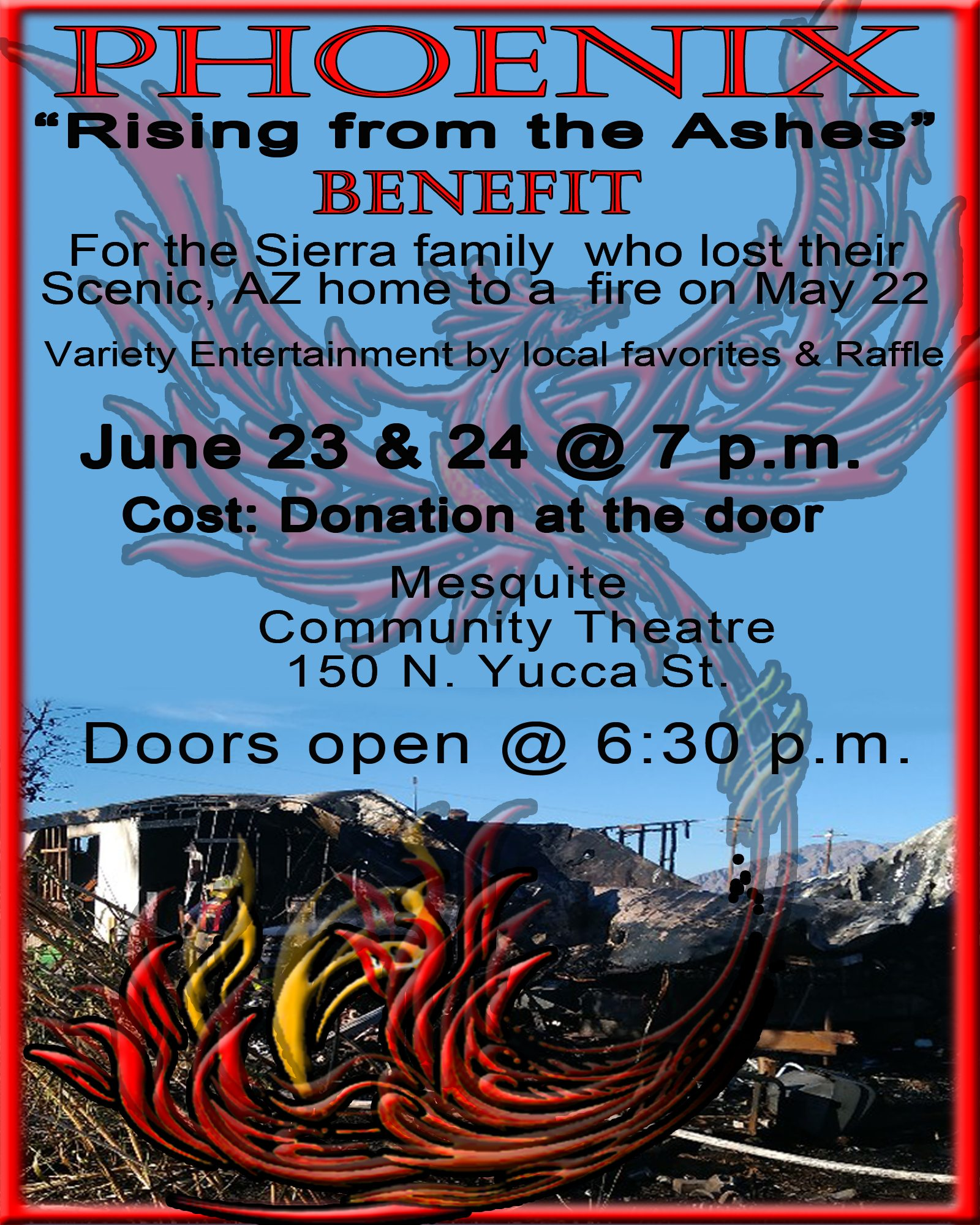 """""""Phoenix"""" (Rising from the ashes) benefit"""