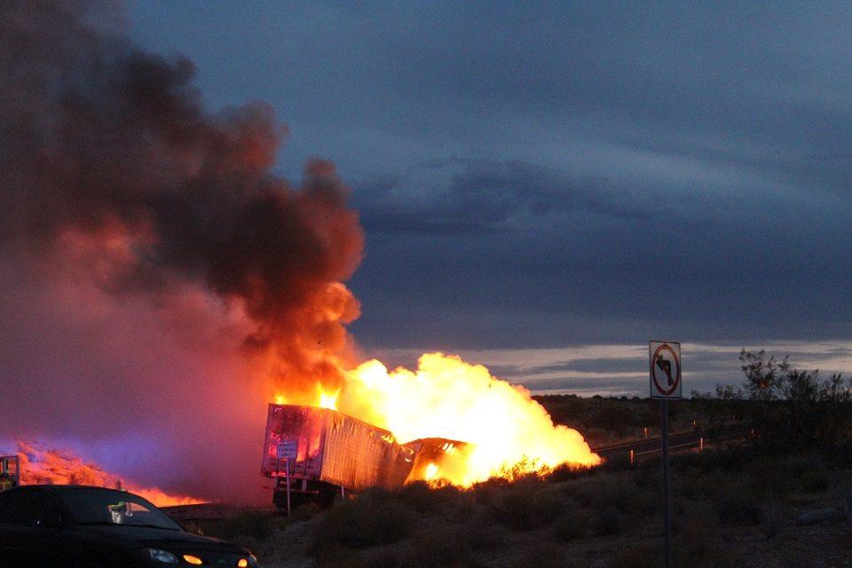Electrical fire destroys semi