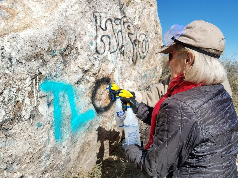 Volunteers clean up vandalism in Gold Butte National Monument