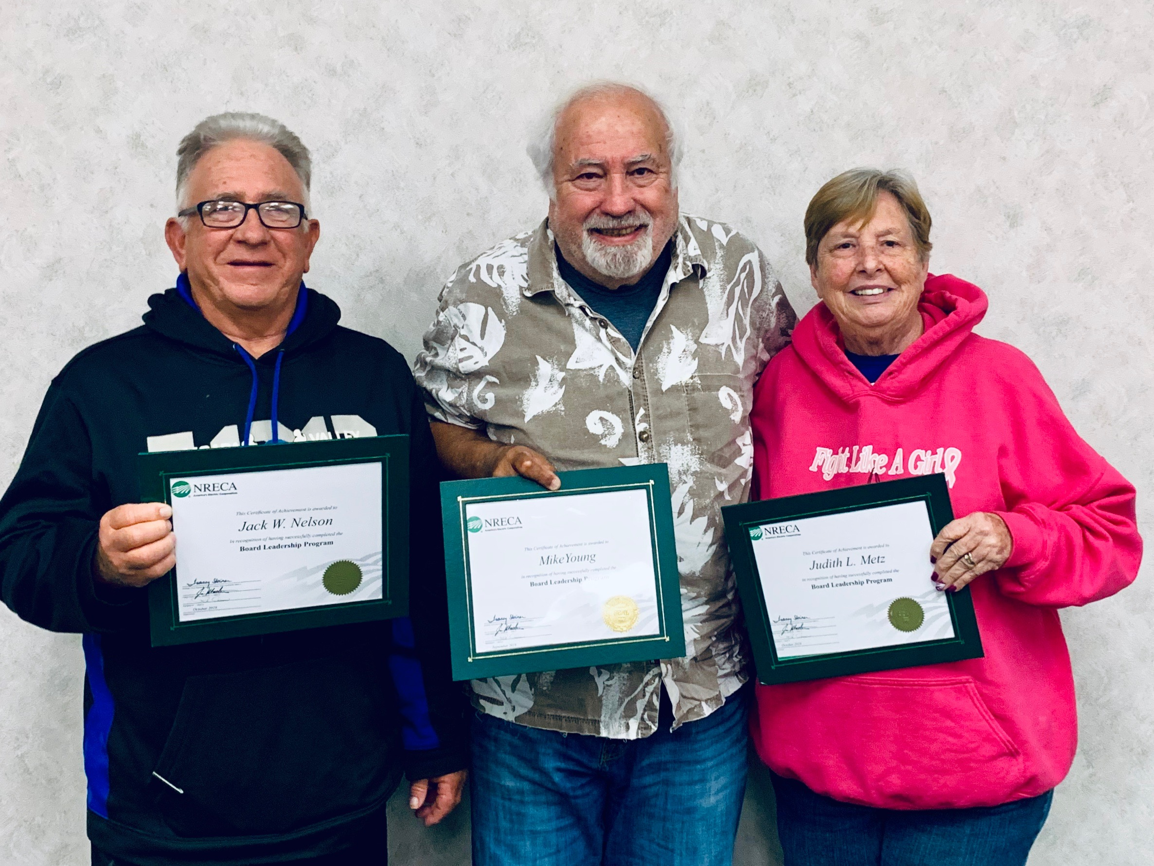 Board members received NRECA Board Leadership Certifications