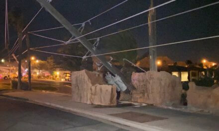 Powerful winds and a microburst knock down seven poles in Mesquite, NV
